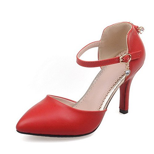 Heels High Buckle Red Pointed Solid Toe Closed Women's Sandals AllhqFashion PU wxUCPEtWq
