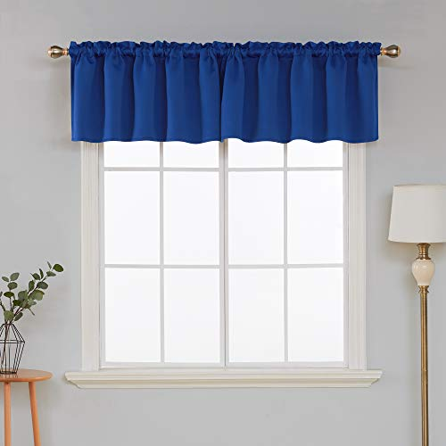 (Deconovo Solid Blackout Rod Pocket Swag Curtain valances for Kitchen Window 42x18 Inch Royal Blue 1 Panel)