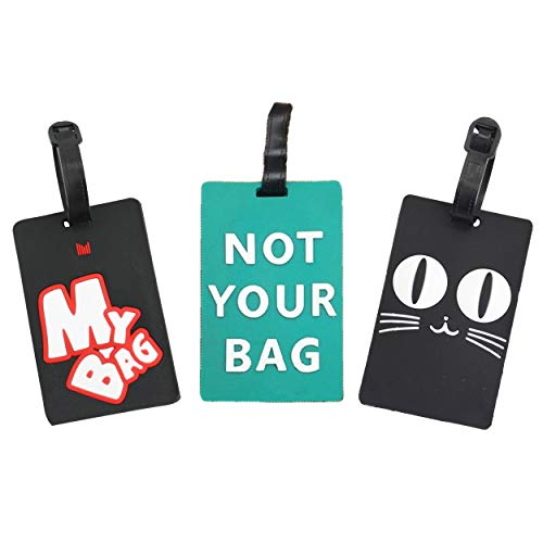 3 Pack Luggage Tags Bright Colors Business Card Holder Suitcase Tags by OVOV (3 pcs)