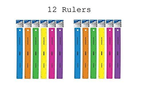 BAZIC 12-Inch (30cm) Shatterproof Flexible Ruler, Pack of 12 (315-24)