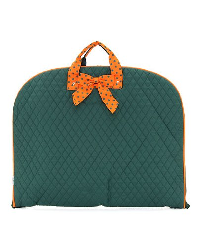 Quilted Solid Garment Bag /W Hanger & Multi Pockets Inside (Green & Orange) (Belvah Cosmetic Bag)