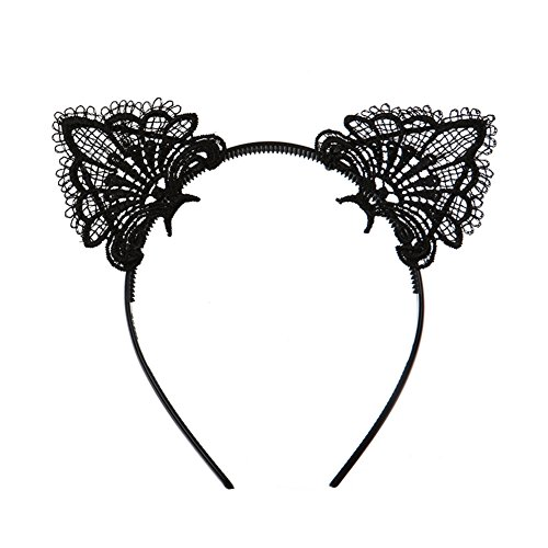 - Sexy Lovely Cute Hairband Black Lace Cat Ears Headband Hair Accessories for Xmas Masquerade Party Cosplay Costume Accessory