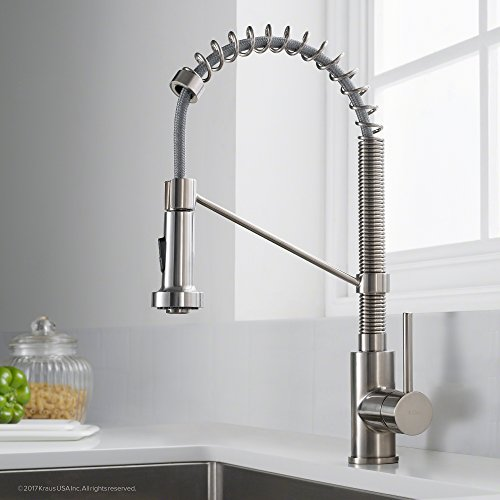 den Single Handle 18-Inch Commercial Kitchen Faucet with Dual Function Pull Down Spray Head Finish Kpf-1610SS, Stainless Steel ()