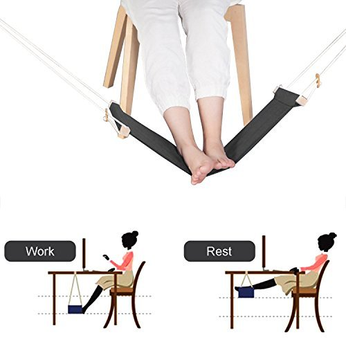 Foot Hammock, Togather Portable Footrest Mini Office Foot Rest Stand Desk Relaxing Tool (Foot Rest Wooden)