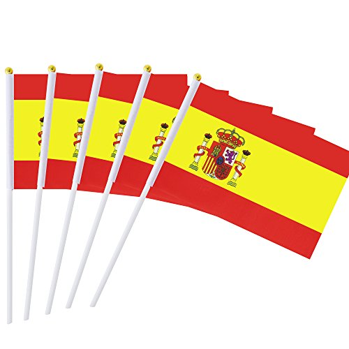 Kind Girl 25 Pack Hand Held Small Mini Flag Spain Flag Spanish Flag Stick Flag Round Top National Country Flags,Party Decorations Supplies for Parades,World Cup,Festival Events,International Festival]()