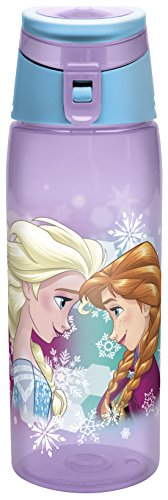 Zak! Designs Tritan Water Bottle with Flip-top Cap with Elsa and Anna from Frozen, Break-resistant and BPA-Free Plastic, 25 oz.