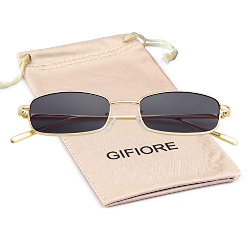 Vintage Sunglasses Retro Square Designer Sunglasses For Women Men (Gold Frame Grey Lens, 52)