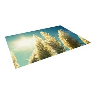 """Kess InHouse Robin Dickinson """"Ornamental Grass"""" Blue Tan Indoor/Outdoor Floor Mat, 4-Feet by 5-Feet"""