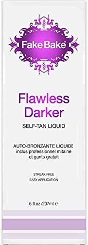 Fake Bake Flawless Darker Self-Tanning Liquid | Fast-Drying, Dark Sunless Tan | Black Coconut Scent | Streak-Free, Easy Application with Professional Mitt Included | 6 oz by Fake Bake