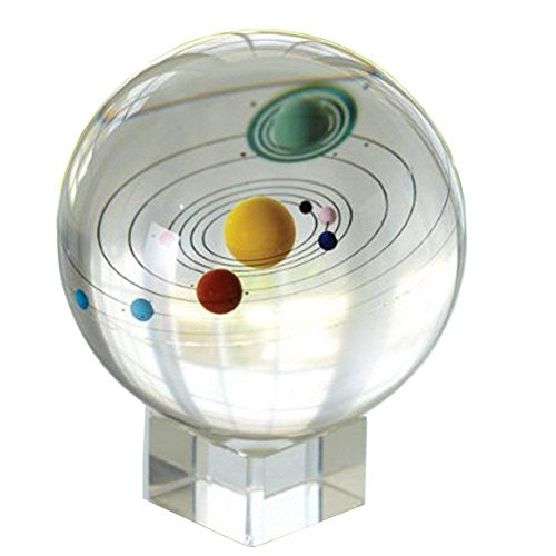 Amlong Crystal 3.1 inch (80mm) Solar System Crystal Ball with Crystal Stand and Gift Box (Mars Ball)