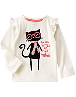 Baby Girls' Kitten Me Right Now Graphic Tee