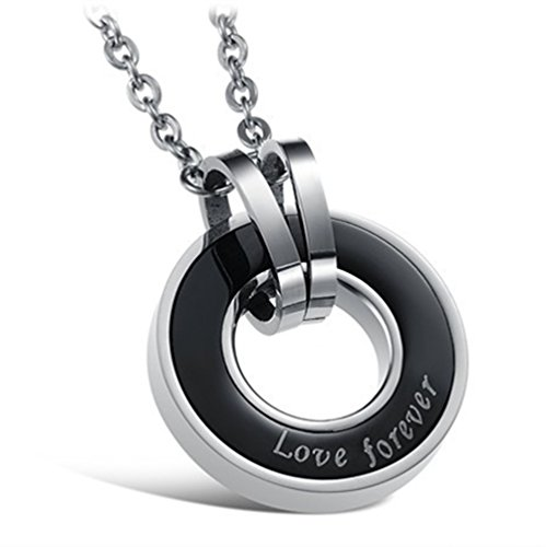 [Love Forever Engraved Design Stainless Steel Circle Lover Couple Pendant Necklace (Black)] (Best Mother And Son Costumes)