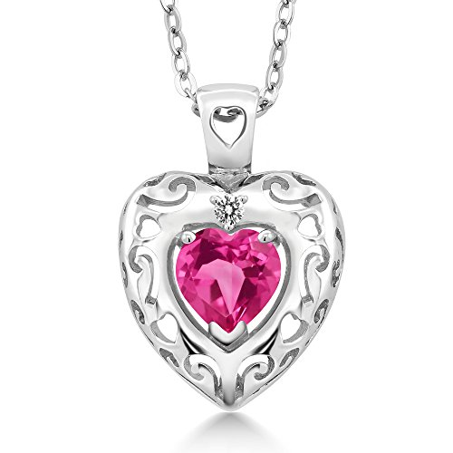 0.82 Ct Pink Created Sapphire White Diamond 925 Sterling Silver Pendant