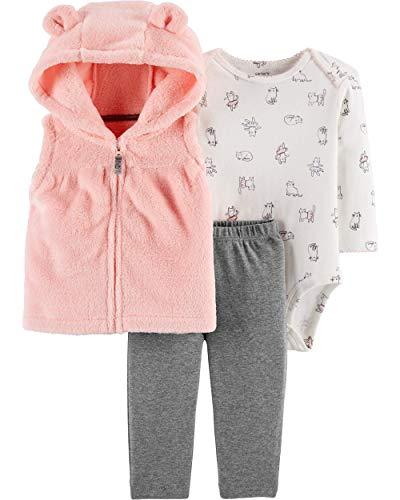(Carter's Baby Girls' 3 Piece Vest Little Jacket Set (Pink/Kitties, Newborn))