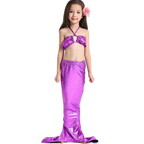 Leiwo Girl's Kids Sea-maid Mermaid Swimsuit Swimwear Bathing Suit Bikini Purple (Brazilian Costume For Kids)