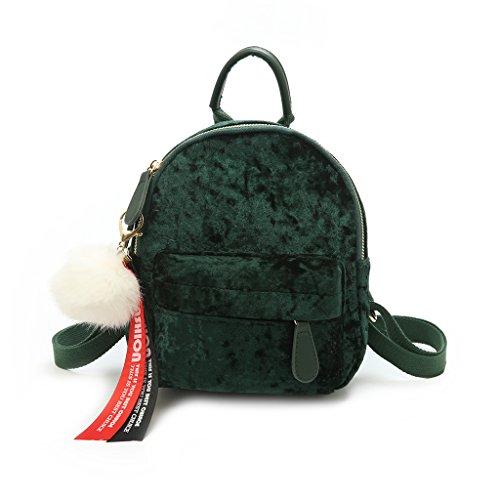 JAGENIE Bag Cute Green Vintage Velvet Women Small Travel Pink Backpack Mini 48p4qxUwfr