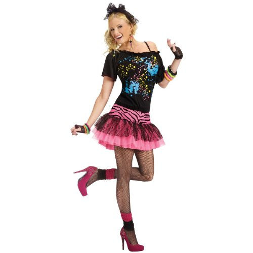 80s Pop Party Womens Costume, Small/Medium, Black/pink
