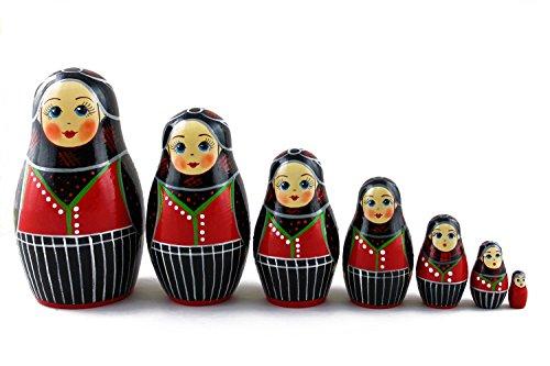 European National Dress Costumes (Matryoshka Danish Folk People National Costume Dress Babushka Russian Nesting Wooden Stacking Doll 7 Pcs)