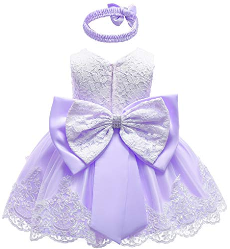 Toddler Baby Girls Contrast Color Christing Pageant Birthday Party Photography Dress,Lilac 18M