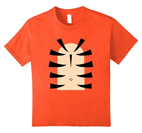Kids Tiger Stripe Belly Last Minute Halloween T-Shirt Costume Tee 12 Orange