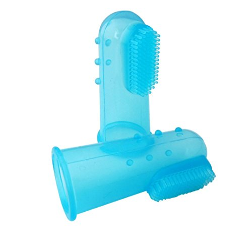 COPPEN 2018 New Super Soft Useful Pet Finger Toothbrush Teddy Dog Brush Bad Breath Tartar Teeth Tool (E) - Name Brush