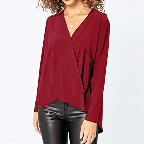 Femme Bureau en vin Longues T Shirt Blouse pour Manches Casual Dame Col Shirts Chic Chemise de V Automne Rouge Pullover Printemps Solike Tops ExRdqB8CE