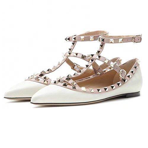 Chris-t Vrouwen Metalen Studs Strappy Gesp Puntige Teen Flats Comfortabele Kleding Pompen Schoenen 5-14 Ons Wit