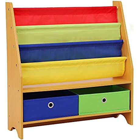 SONGMICS Children S Bookcase Rack Sling Book Shelf Toy Storage Organizer With 2 Fabric Bins And 3 Tier Book Shelf Multicolor UGKR42Y
