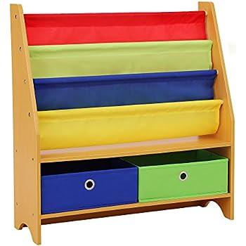 costzon kids sling bookshelf book magazine storage rack children bookcase display. Black Bedroom Furniture Sets. Home Design Ideas