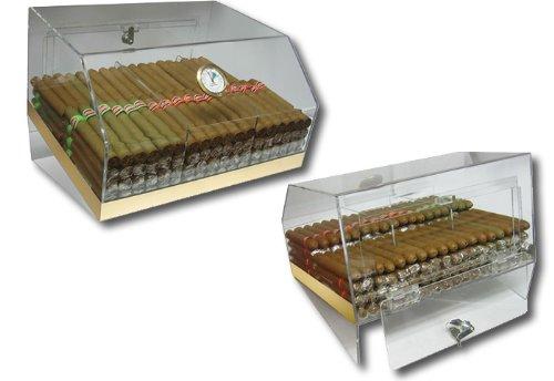 - Prestige Import Group 75 Ct. Acrylic Display Humidor 3 Bins w/ Hygrometer
