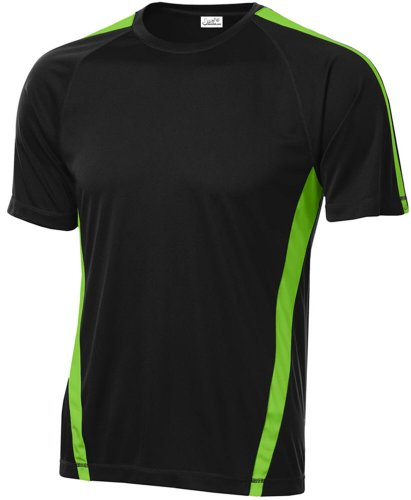 Joe's USA Men's Athletic All Sport Training T-Shirt ,Black/ Lime Shock (Green Workout T-shirt)