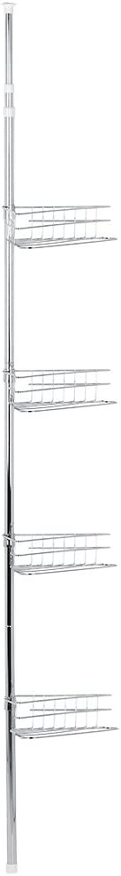 Ejoyous Estantería telescópica para ducha de metal, con 4 estantes, ajustable, montaje sin agujeros, altura regulable 233 ~ 243 cm