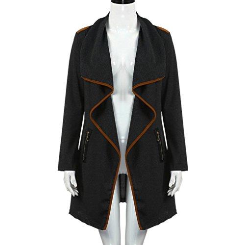 Zycshang Manches Manteaux m Plus Outerwear Black Jacket Size Pour Longues Cardigan Femmes À pRFrp