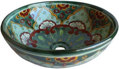 Fine Crafts Imports Green Greca Round Ceramic Talavera Vessel Sink