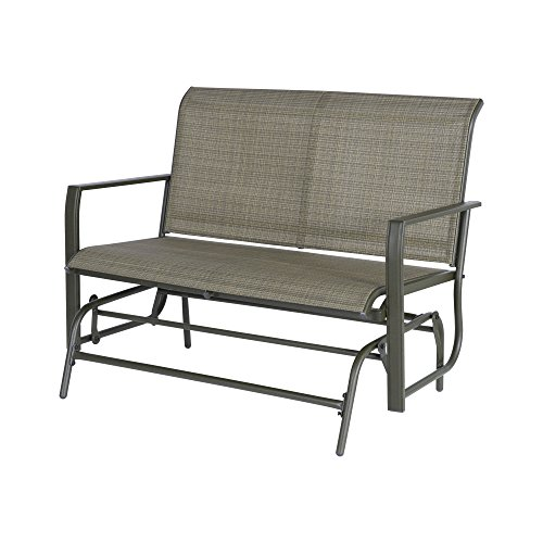 Cloud Mountain Patio Glider Bench Outdoor 2 Person Swing Loveseat Rocking Seating Patio Swing Rocker Lounge Glider Chair, Tan by Cloud Mountain
