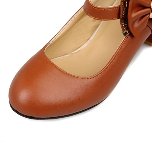 Charm Foot Fashion Bows Mujeres Rough Heels Bombas Zapatos Marrón