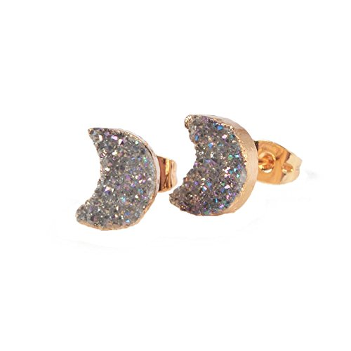 JAB Handmade Gold Plated Moon Natural Agate Titanium Druzy Stud Earrings (Light (18k Agate Earrings)