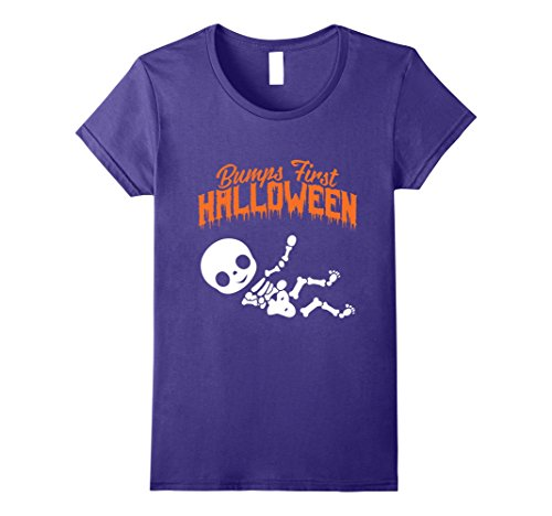 Halloween Costumes For Pregnant Woman (Womens Baby Bumps First Halloween Pregnant X Ray Skeleton T Shirt XL Purple)