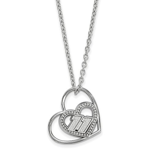 Sterling Silver Women's 11 Denny Hamblin NASCAR Jewelry Pendants & Charms 20 mm 18 in PIERCED HEART PATTERN DRIVER #11 PENDANT18 SILVER CHAI