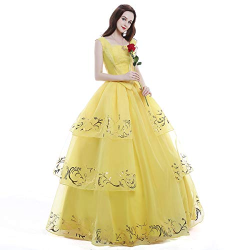 iCos Women Girl Princess Belle Dress Up Ball Gown Long Yellow Layered Halloween Costume Adult Kids -