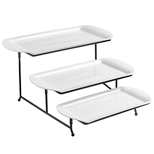 Lifver 15-inch Porcelain Embossed Rectangular Platter/Serving Plates With 3 Tier Metal Display Stand, Set of 3, White by Lifver