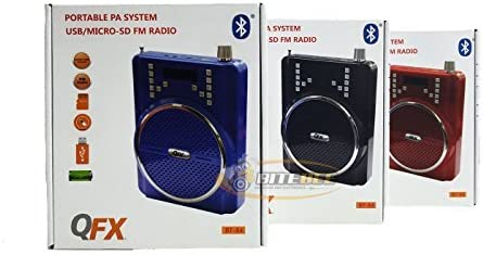 Blue QFX BT-84 Rechargeable PA System w//Bluetooth//USB//MicroSD-in//Headset Mic