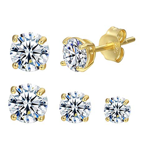 Stud Earring 14K Gold Plated S925 Sterling Silver Cubic Zirconia Stud Earring Set for Women(3mm/4mm/5mm) (14K Gold)