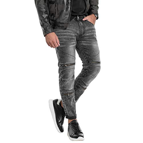 Slim Cerniere Jeans Nero Fit Tasche Uomo Cinque Giosal Denim Stonewashed Pantalone xgqInw0IUz