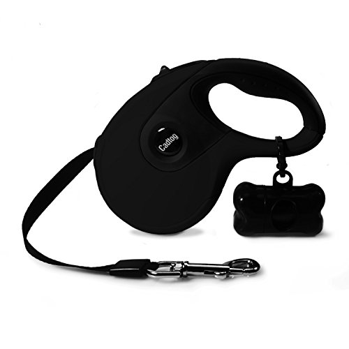 Cadtog Retractable Dog Leash,16 ft Dog Walking Leash for Medium Large Dogs up to 110lbs,One Button Break & Lock, Dog Waste Dispenser and Bags Included (Black)
