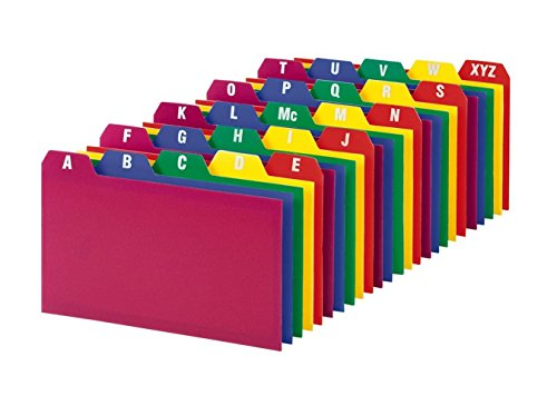 Oxford(R) Poly Card Guides, A-Z, 3in. x 5in., Assorted Colors