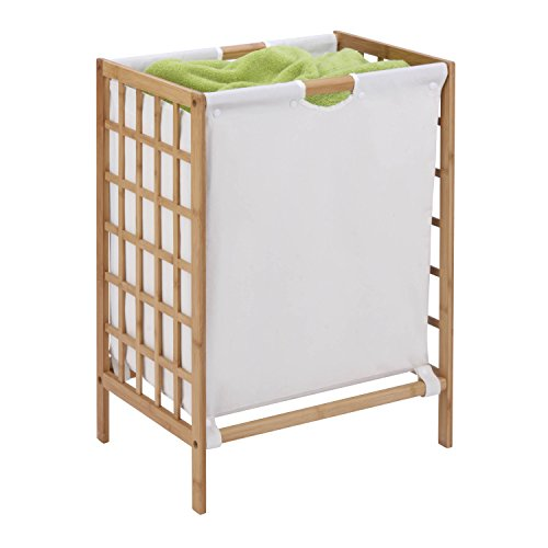 Honey-Can-Do HMP-03770 Bamboo Laundry Hamper with Natural Liner, 16