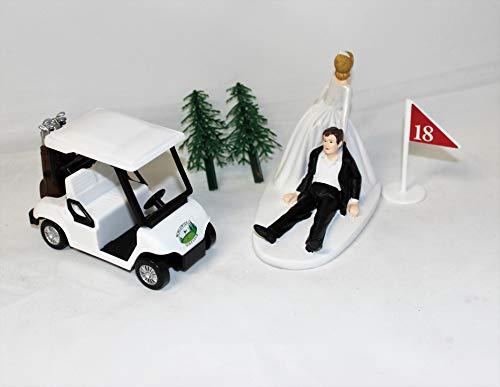 Wedding Reception Party Golf Cart Golfer Clubs Cake Topper
