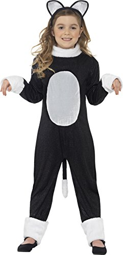 Smiffy's Children's Cool Cat Girl Costume, Jumpsuit, Tail & Headpiece, Color: Black, Ages 7-9, Size: Medium, (Smiffys Halloween Cat)