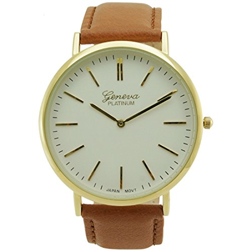 (Mens Slim Genuine Brown Leather Band Fashion Watch White Dial)